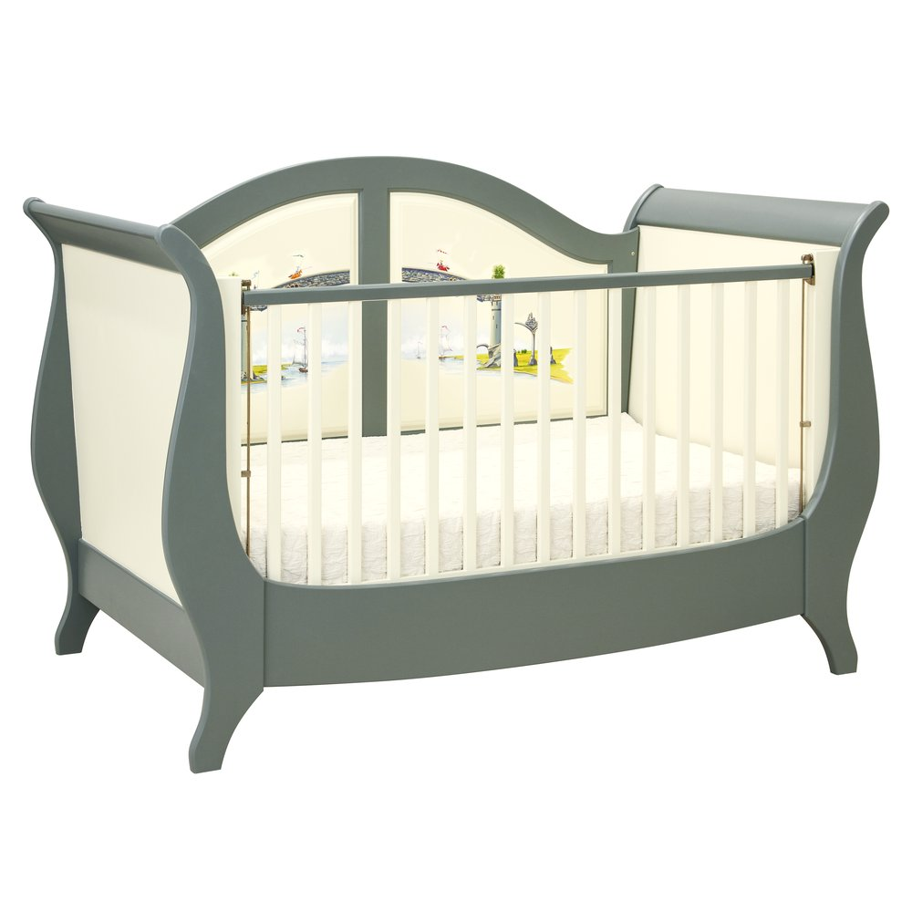 Grey Sleigh Cot Bed | Nursery Furniture | Albion Collection | Woodright Home UK