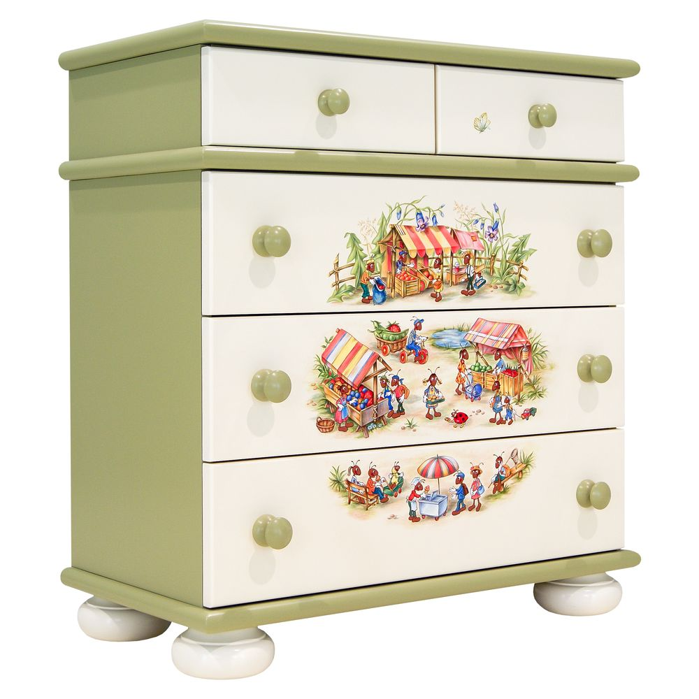 Kids Green Chest of Drawers | Children's Chests of Drawers | Ants' Village Collection | Woodright Home UK