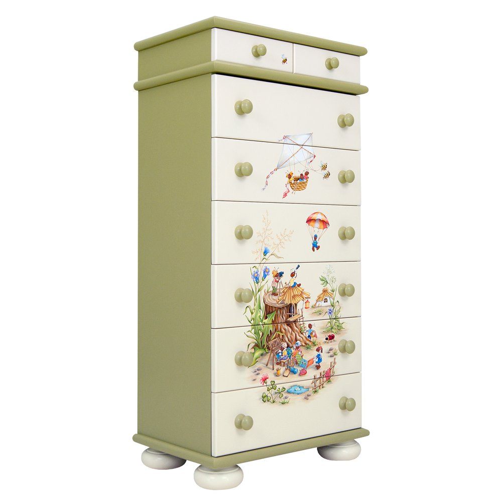 Green Tall Chest of Drawers | Children's Chests of Drawers | Ants' Village Collection | Woodright Home UK