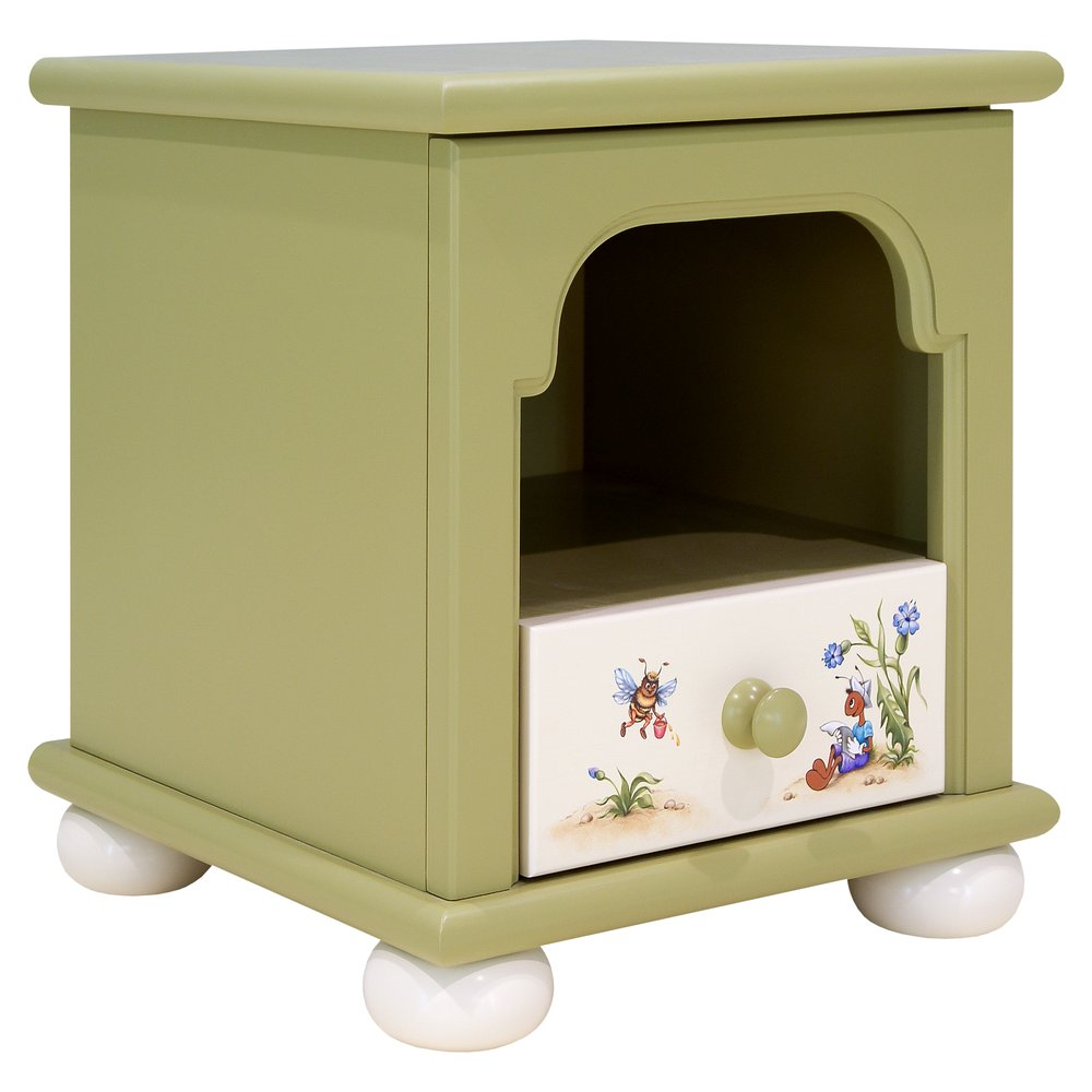 Green Children's Bedside Table | Children's Storage | Ants' Village Collection | Woodright Home UK