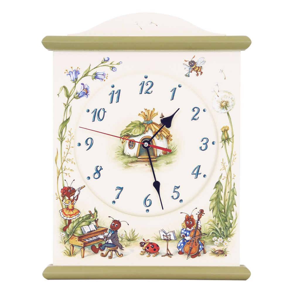 Kids Green Silent Wall Clock | Wall Clocks | Ants' Village Collection | Woodright Home UK
