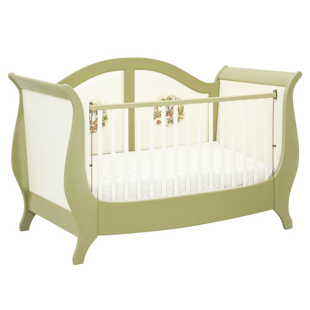 Green Sleigh Cot Bed | Nursery Furniture | Ants' Village Collection | Woodright Home UK