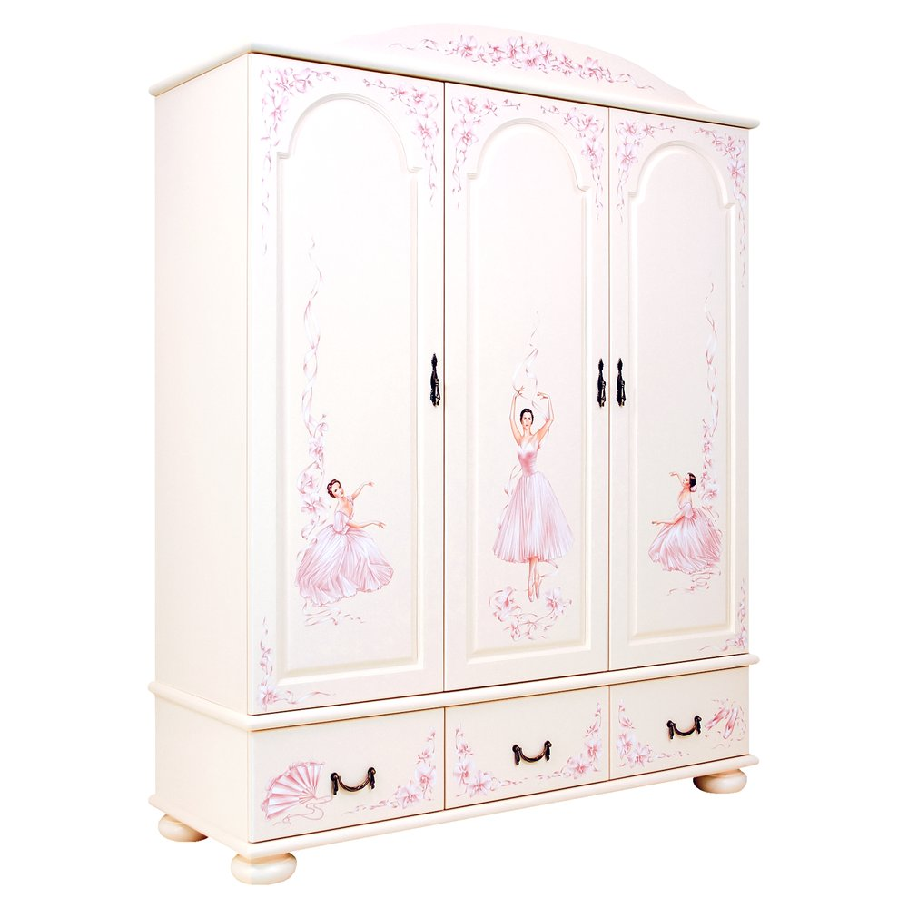 Girl's Light Pink 3 Door Wardrobe | Children's Wardrobes | Ballet Collection | Woodright Home UK