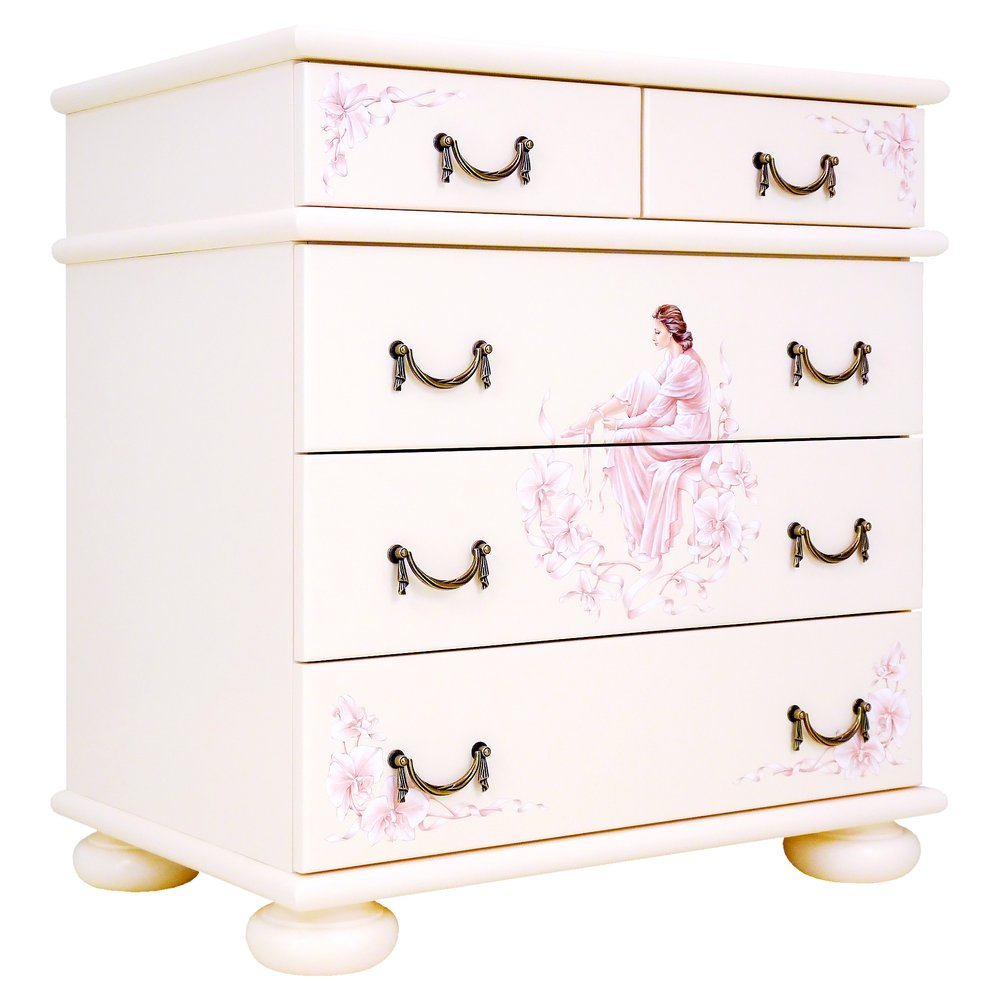 Girl's Light Pink Chest of Drawers | Children's Chests of Drawers | Ballet Collection | Woodright Home UK