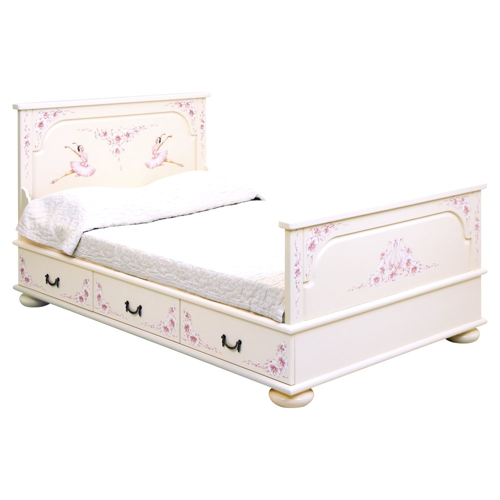 Light Pink Small Double Bed with Drawers | Children's Beds | Ballet Collection | Woodright Home UK