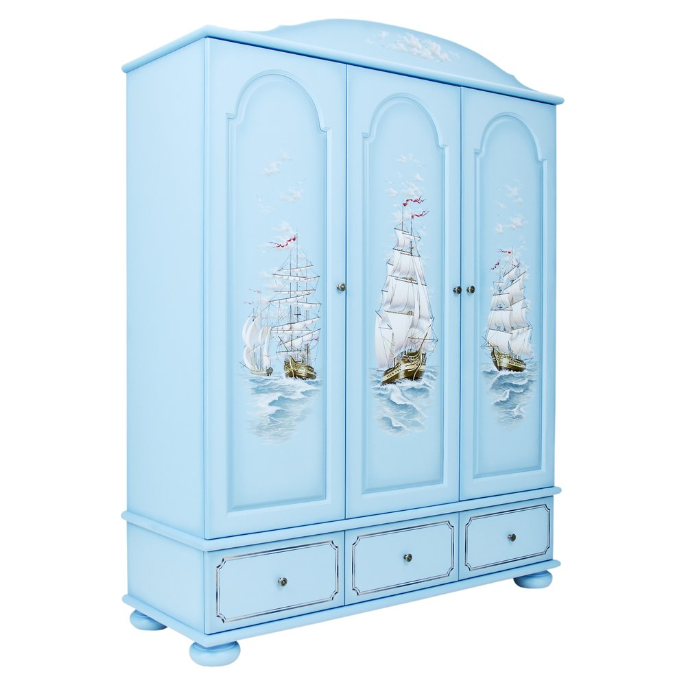 Blue Children's 3 Door Wardrobe | Children's Wardrobes | Brigantine (blue) Collection | Woodright Home UK