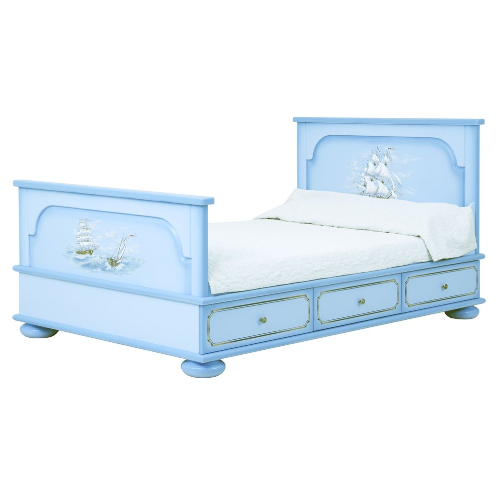 Blue Small Double Bed with Drawers | Children's Beds | Brigantine (blue) Collection | Woodright Home UK