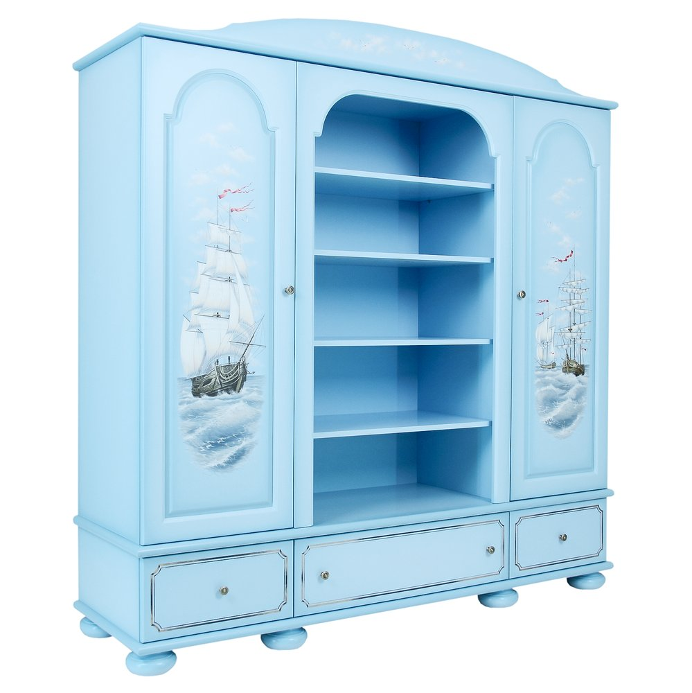 Kids Blue Combination Wardrobe | Children's Wardrobes | Brigantine (blue) Collection | Woodright Home UK