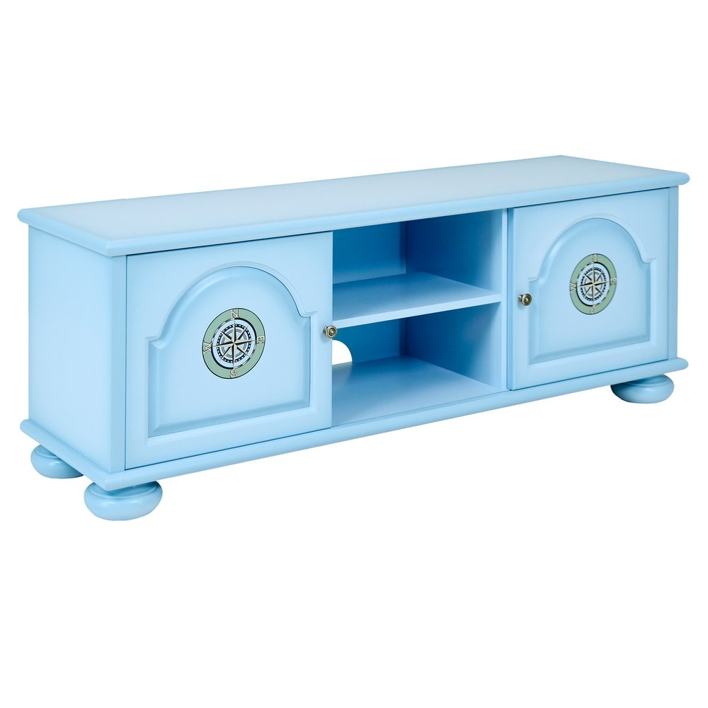 Blue Children's TV Stand | Children's Storage | Brigantine (blue) Collection | Woodright Home UK
