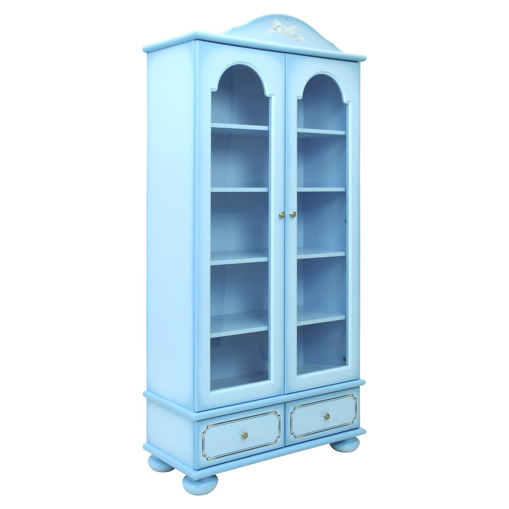 Blue Children's Glazed Bookcase | Children's Storage | Brigantine (blue) Collection | Woodright Home UK