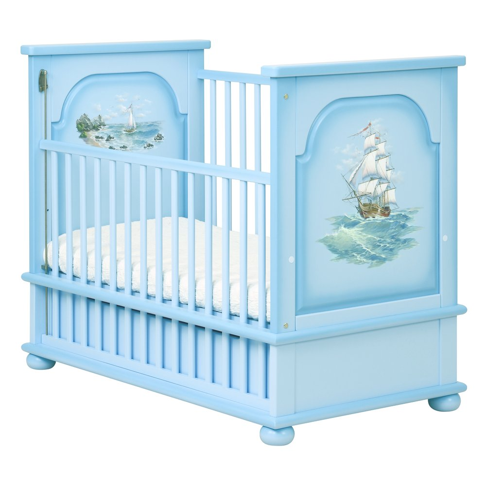 Blue Cot Bed | Nursery Furniture | Brigantine (blue) Collection | Woodright Home UK