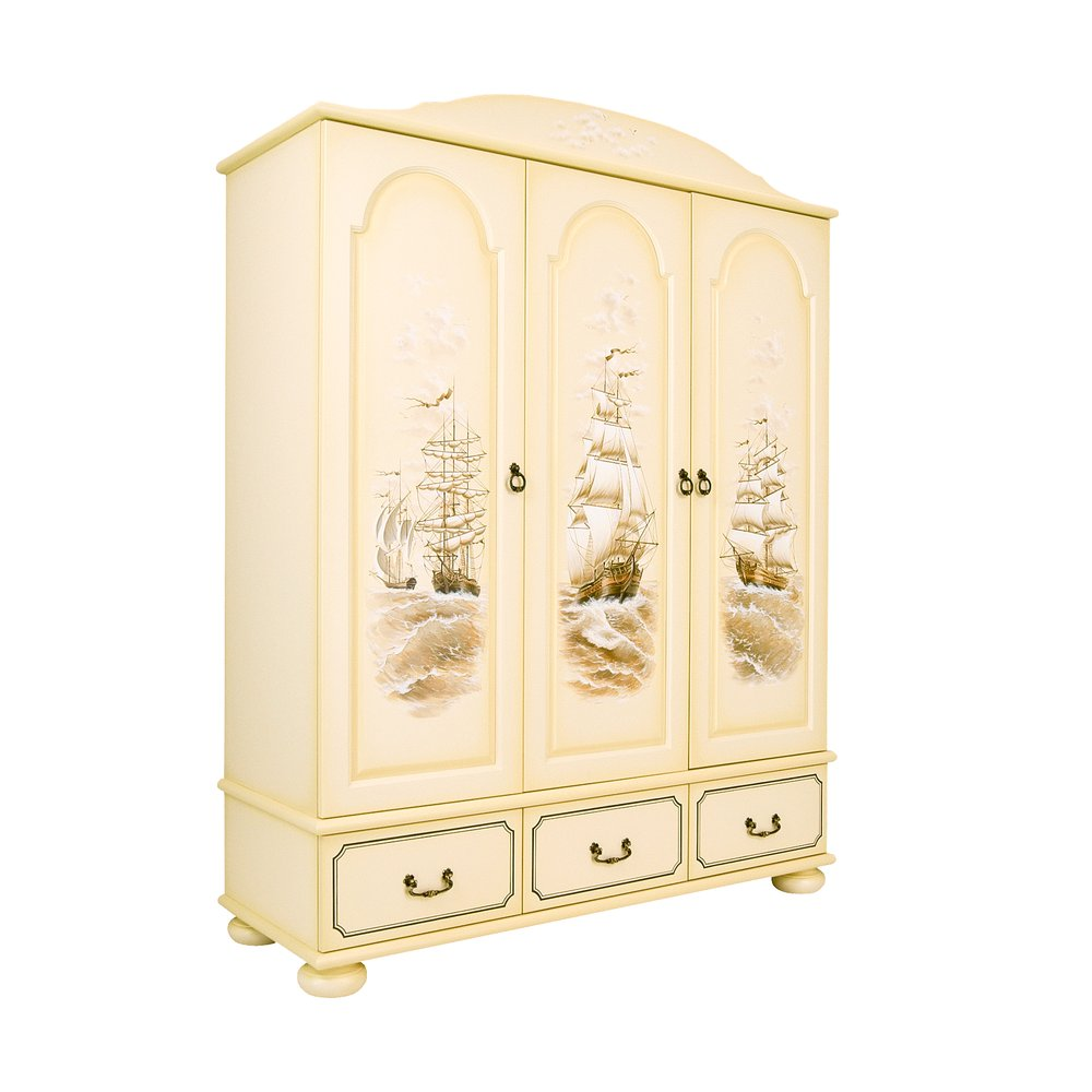 Children's Ivory 3 Door Wardrobe - Brigantine (ivory) Collection