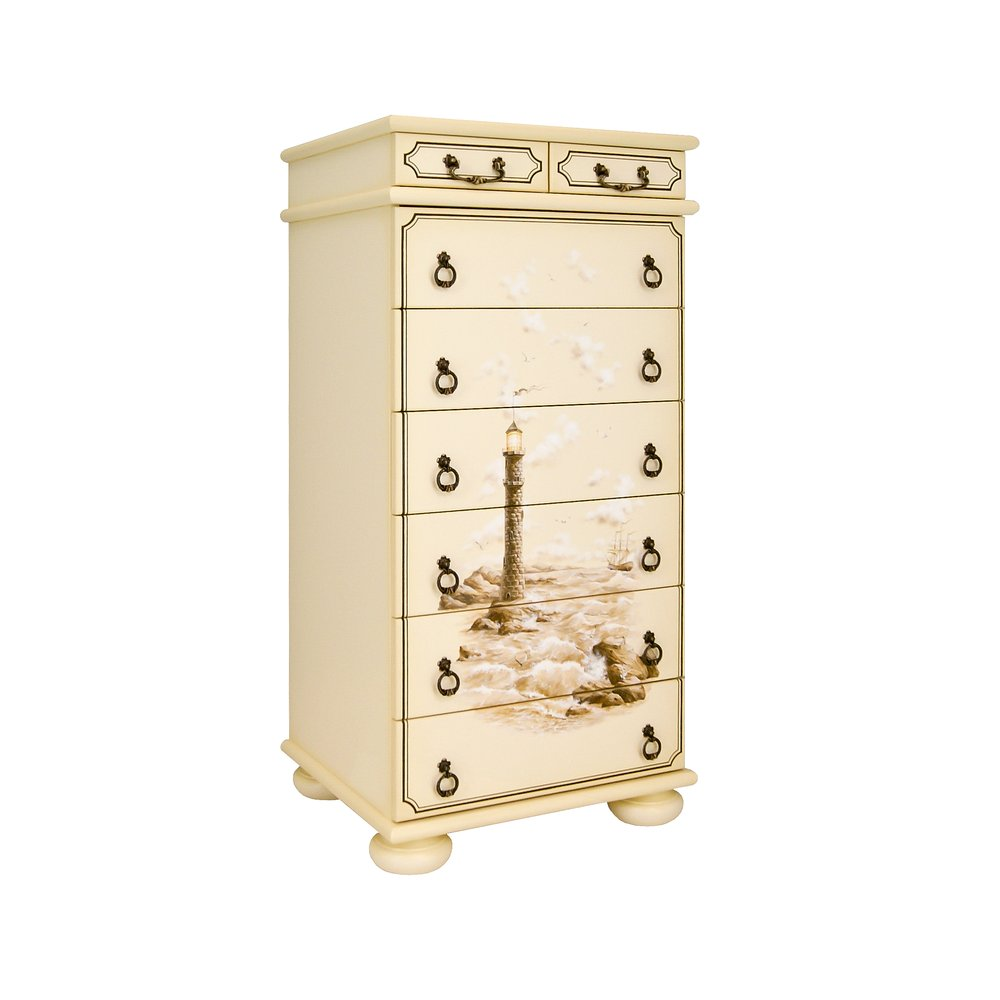 Ivory Tall Chest of Drawers - Brigantine (ivory) Collection