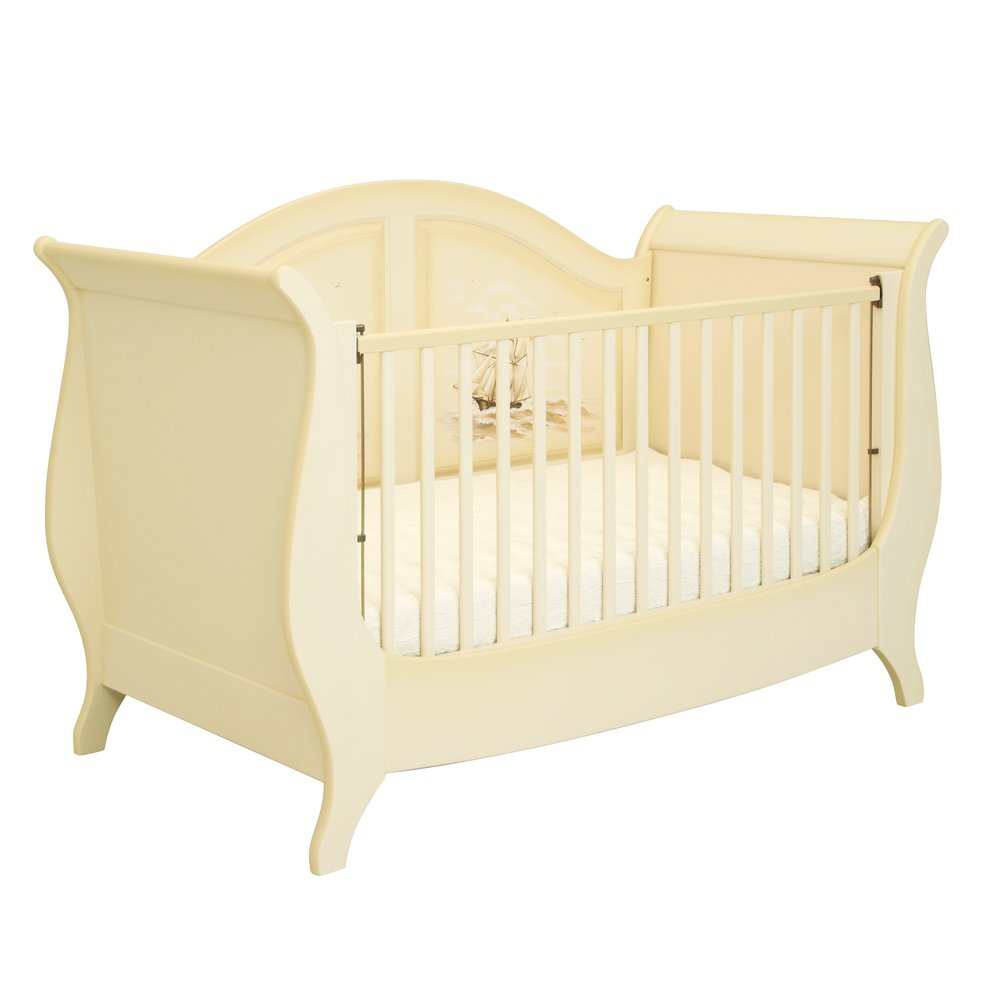 Ivory Sleigh Cot Bed - Brigantine (ivory) Collection