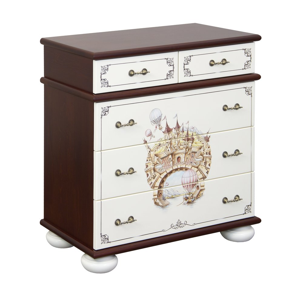 Kids Dark Wood Chest of Drawers | Children's Chests of Drawers | Fantasy Kingdom Collection | Woodright Home UK