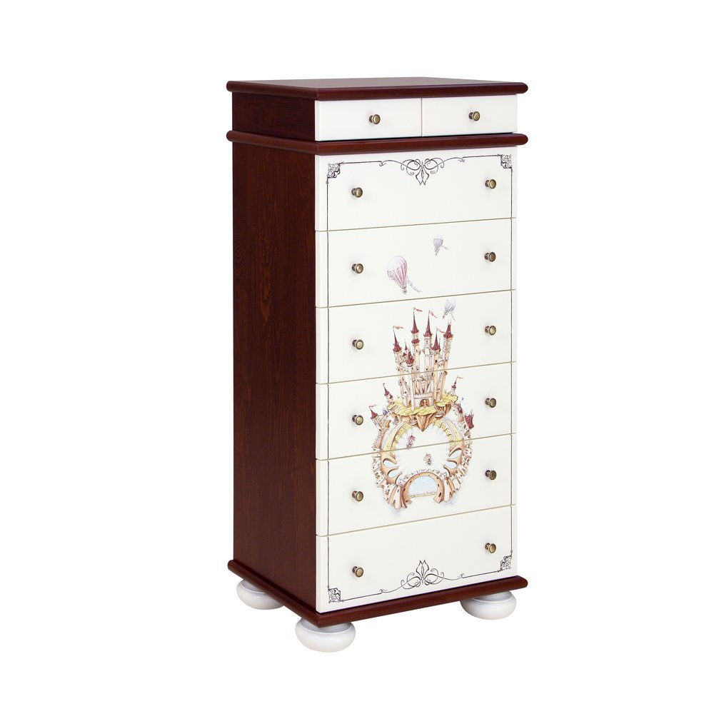 Dark Wood Tall Chest of Drawers | Children's Chests of Drawers | Fantasy Kingdom Collection | Woodright Home UK
