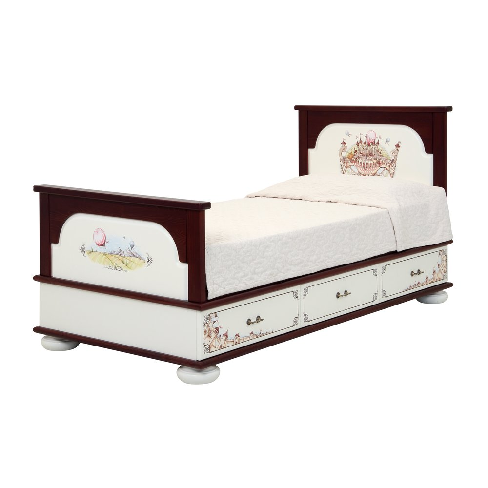Dark Wood Single Bed with Drawers | Children's Beds | Fantasy Kingdom Collection | Woodright Home UK