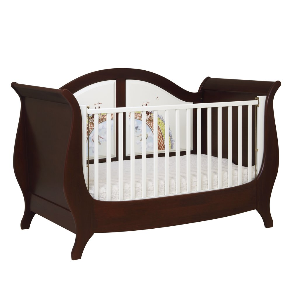 Dark Wood Sleigh Cot Bed | Nursery Furniture | Fantasy Kingdom Collection | Woodright Home UK