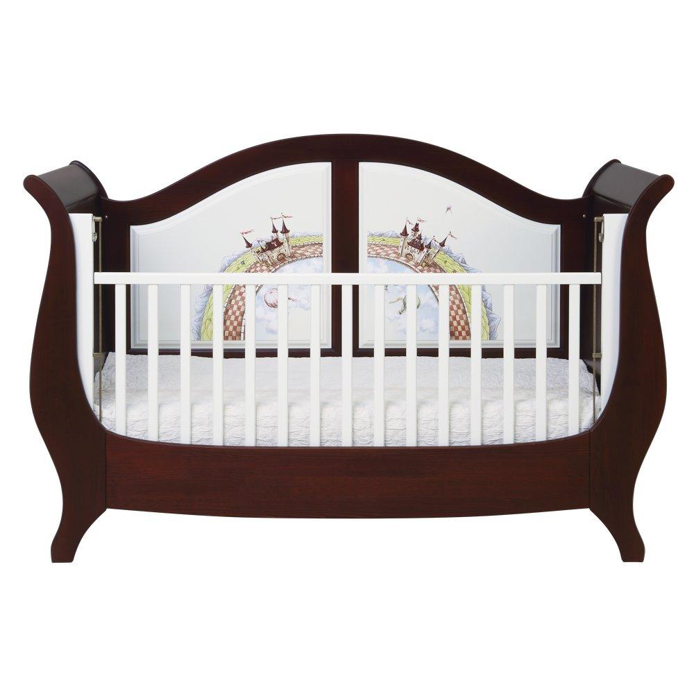 Dark wood sleigh cot bed nursery furniture fantasy kingdom collection woodright home uk
