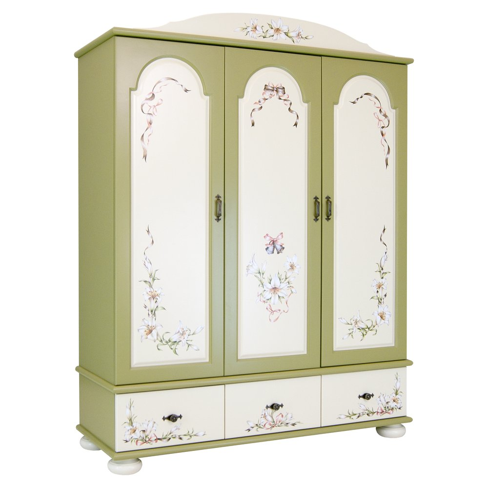 Olive Childrens 3 Door Wardrobe | Children's Wardrobes | Royal Lilies Collection | Woodright Home UK