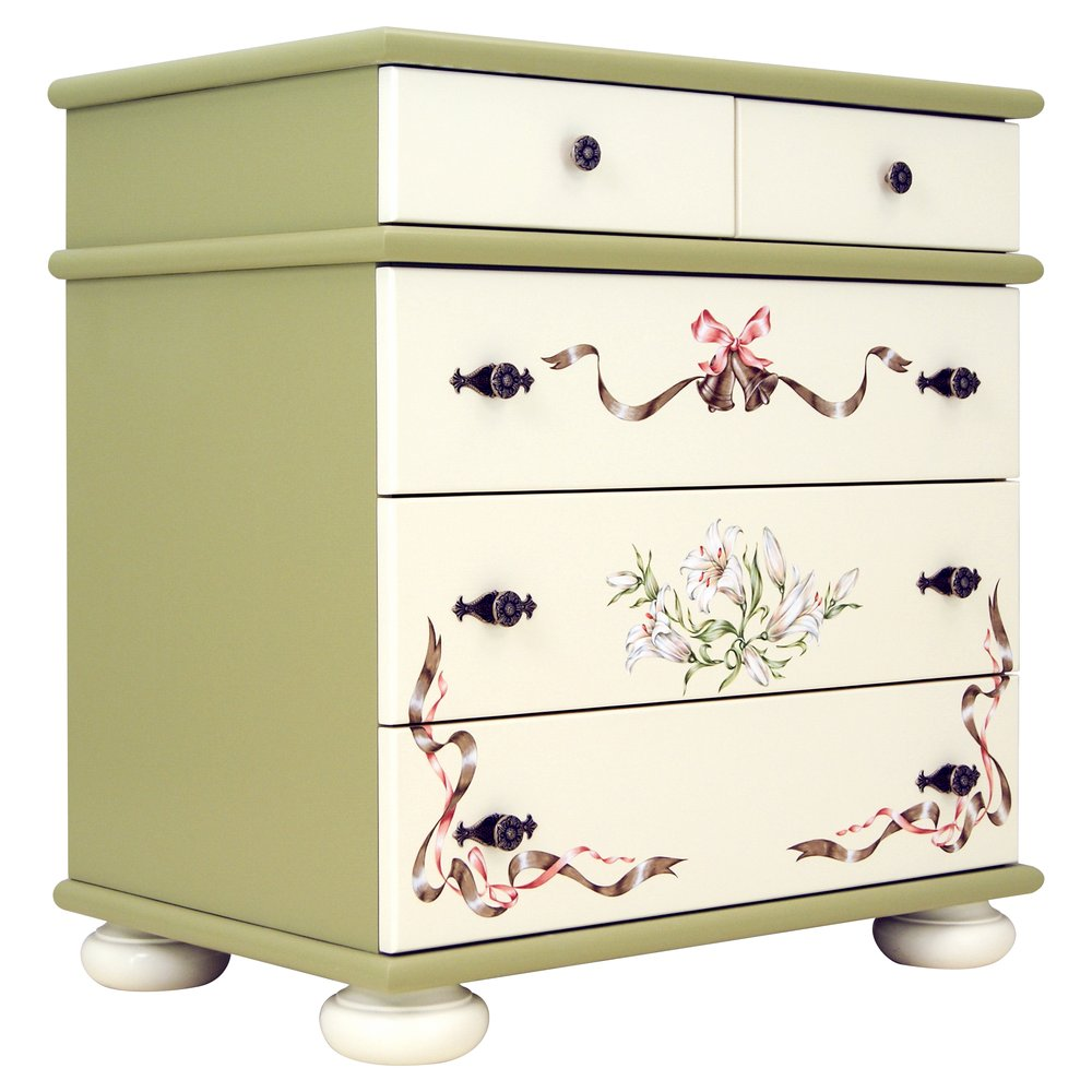 Girl's Olive Chest of Drawers | Children's Chests of Drawers | Royal Lilies Collection | Woodright Home UK