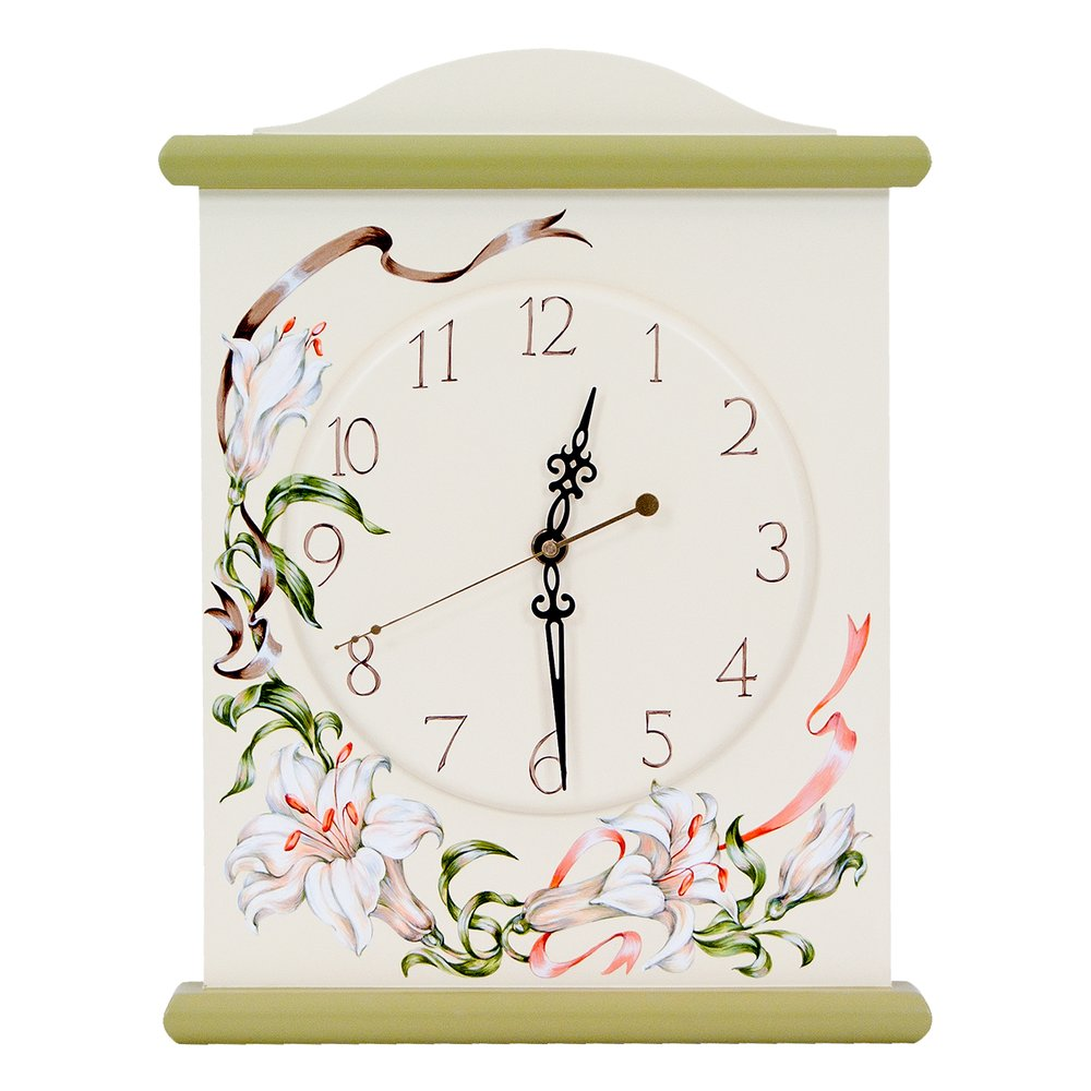 Olive Silent Wall Clock | Wall Clocks | Royal Lilies Collection | Woodright Home UK
