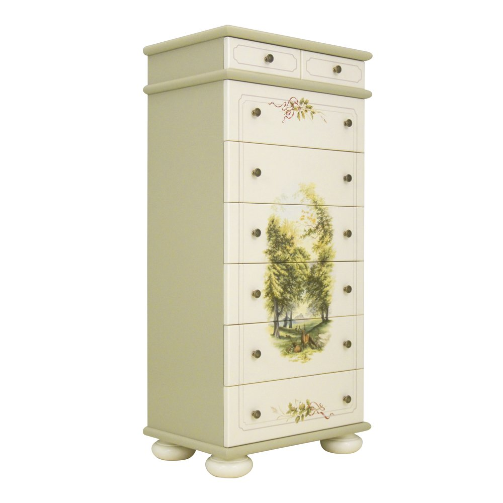 Light Olive Tall Chest of Drawers | Children's Chests of Drawers | Rural Scenery Collection | Woodright Home UK