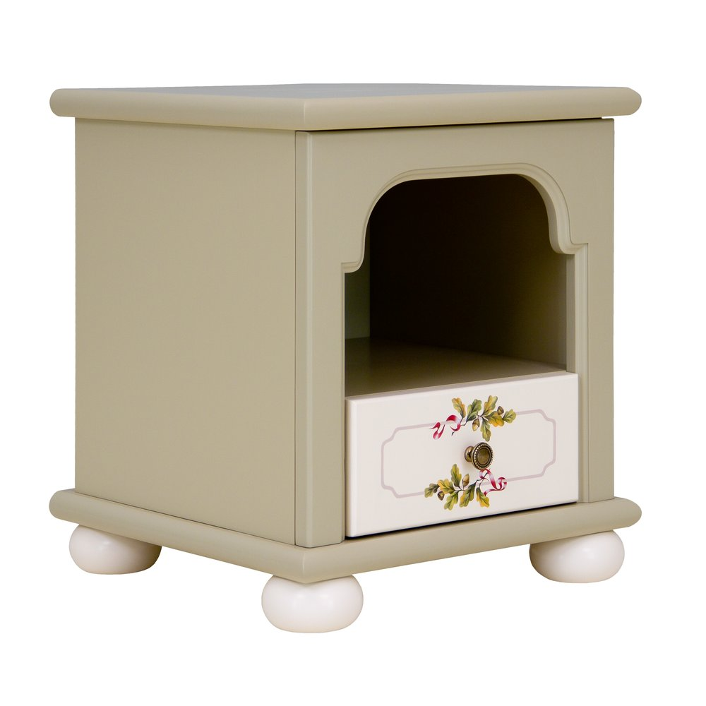 Light Olive Bedside Table | Children's Storage | Rural Scenery Collection | Woodright Home UK