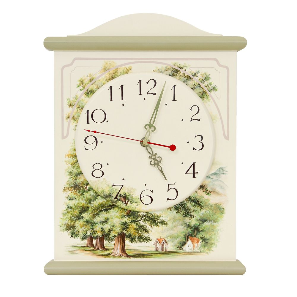 Light Olive Silent Wall Clock | Wall Clocks | Rural Scenery Collection | Woodright Home UK