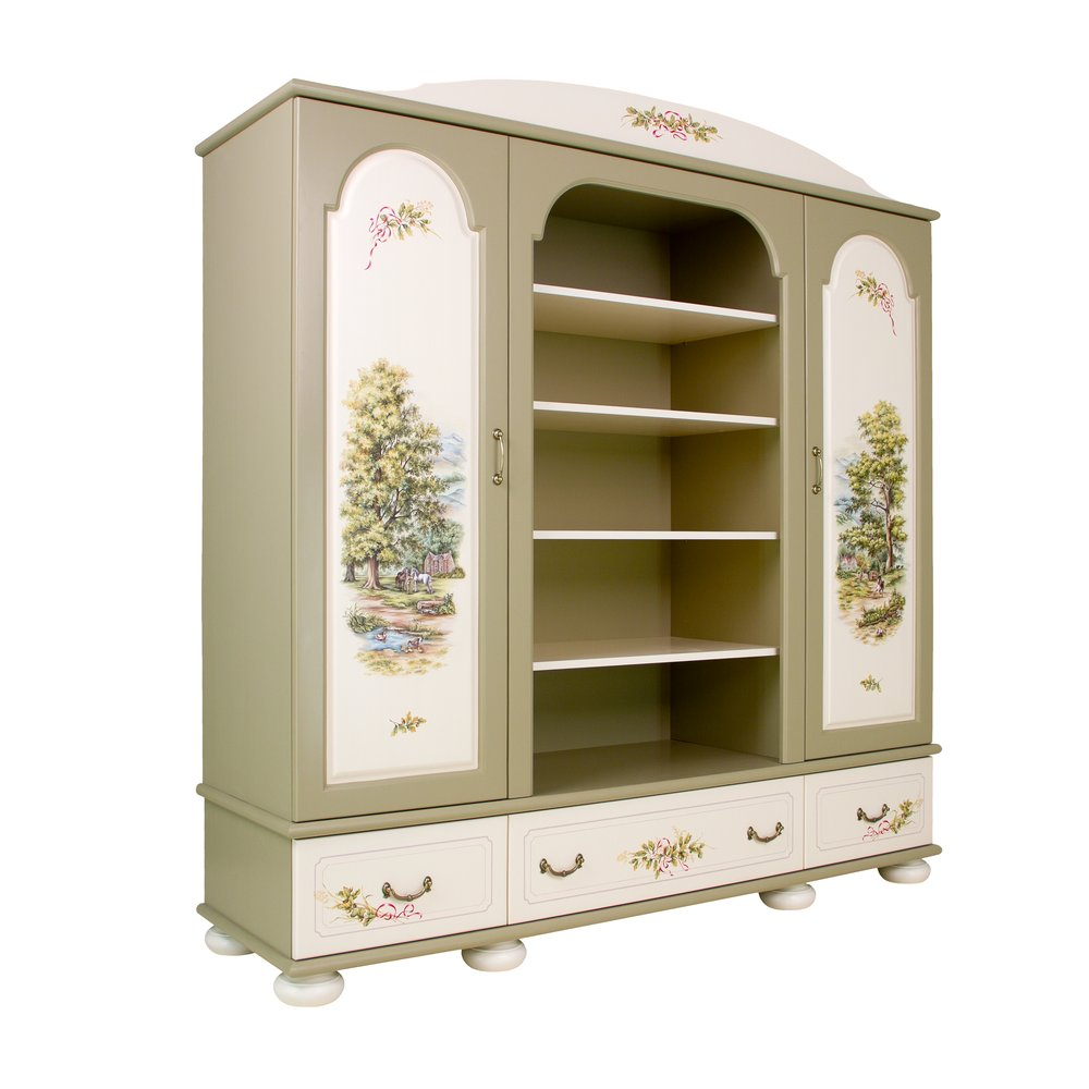 Light Olive Combi Wardrobe | Children's Wardrobes | Rural Scenery Collection | Woodright Home UK