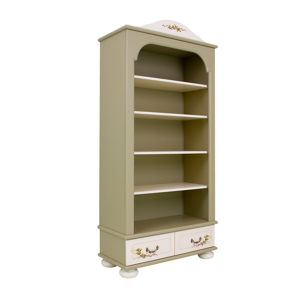 Light Olive Bookcase with Drawers | Children's Storage | Rural Scenery Collection | Woodright Home UK