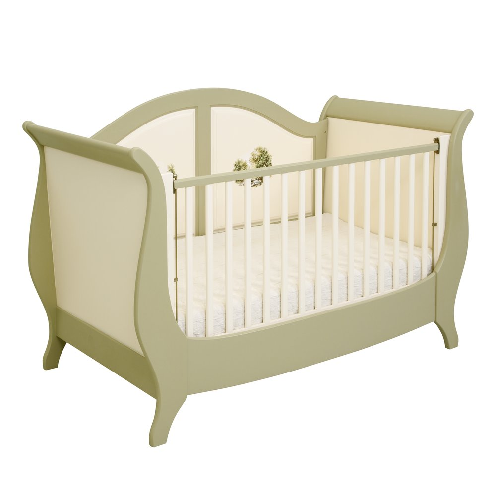 Light Olive Sleigh Cot Bed | Nursery Furniture | Rural Scenery Collection | Woodright Home UK