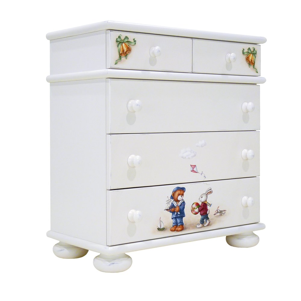 Soft White Chest of Drawers | Children's Chests of Drawers | Teddy Bear Collection | Woodright Home UK