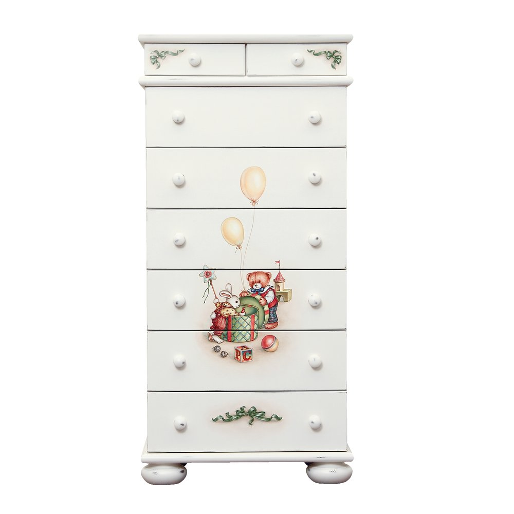 Soft White Tall Chest of Drawers | Children's Chests of Drawers | Teddy Bear Collection | Woodright Home UK