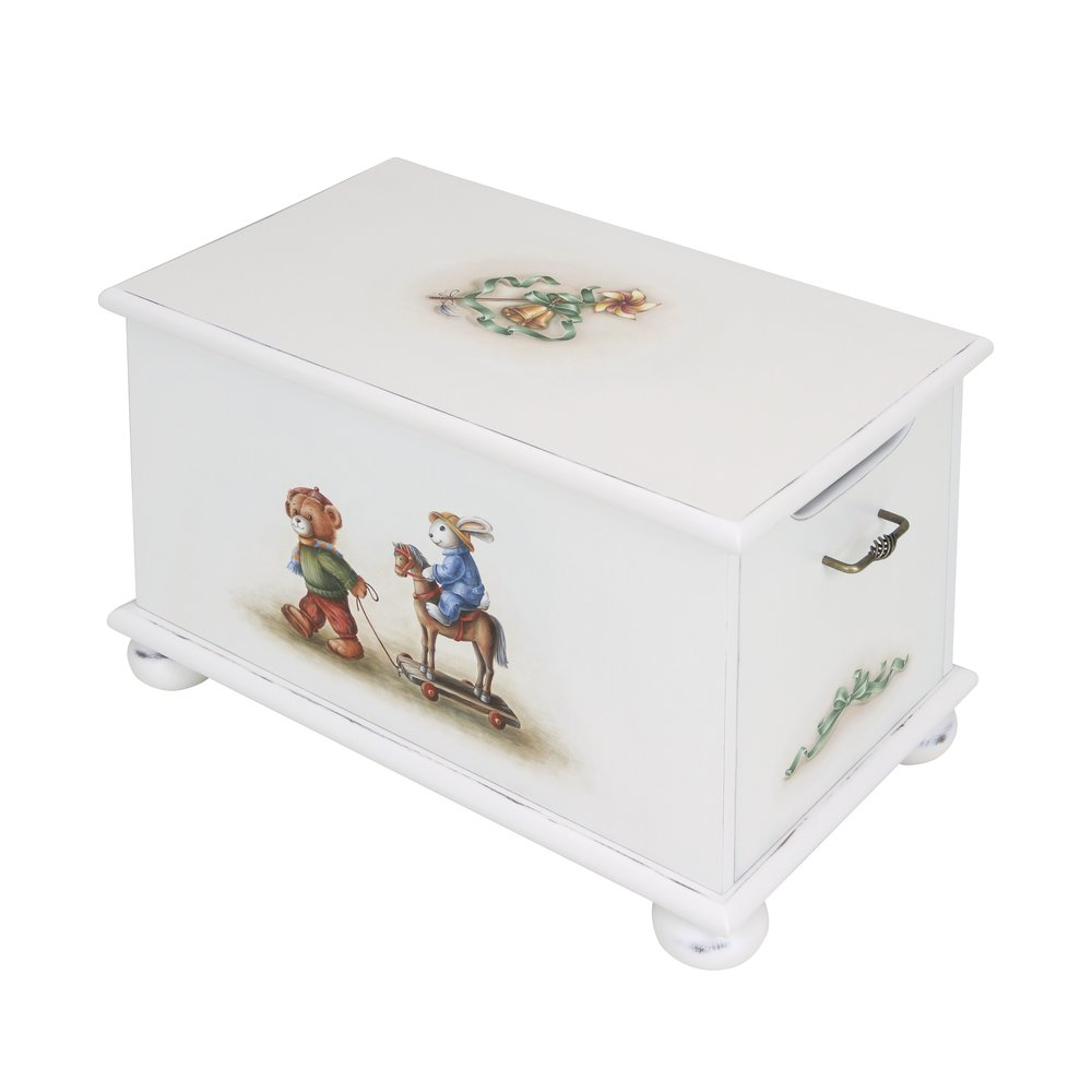 Soft White Toy Box | Toy Boxes | Teddy Bear Collection | Woodright Home UK