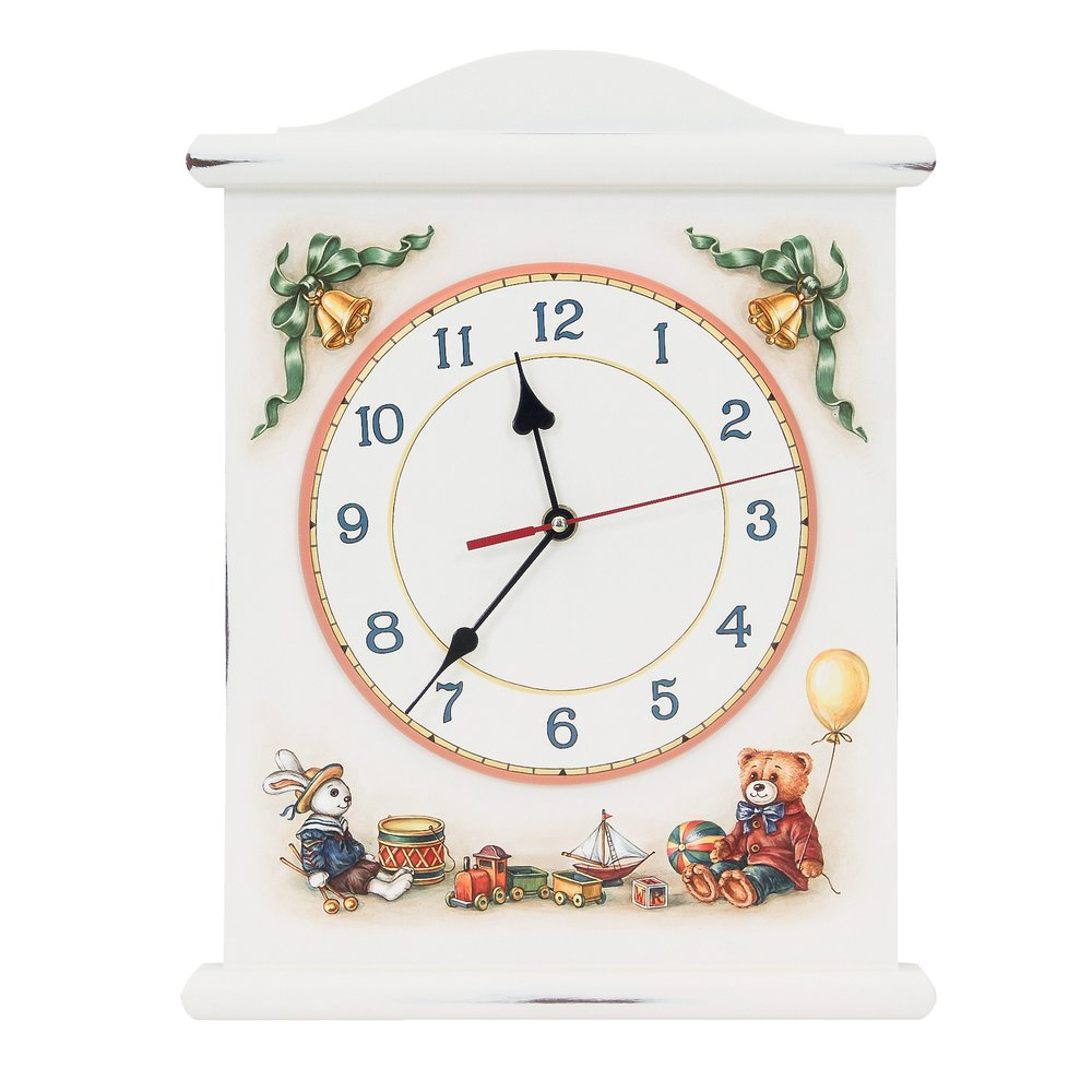 Soft White Silent Wall Clock | Wall Clocks | Teddy Bear Collection | Woodright Home UK