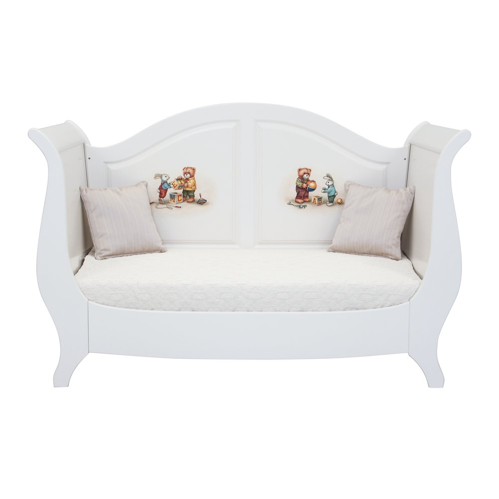Soft White Sleigh Cot Bed | Nursery Furniture | Teddy Bear Collection |  Woodright Home UK
