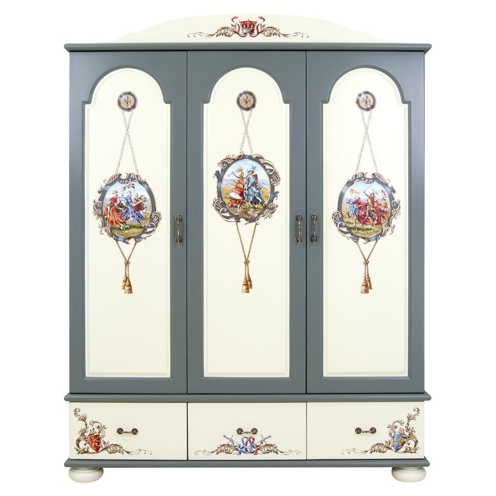 Kids Grey 3 Door Wardrobe | Children's Wardrobes | Templars Collection | Woodright Home UK