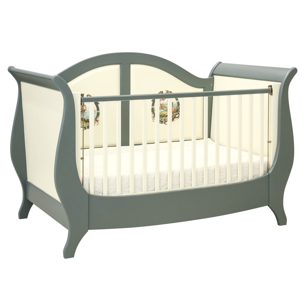 Grey Sleigh Cotbed | Nursery Furniture | Templars Collection | Woodright Home UK
