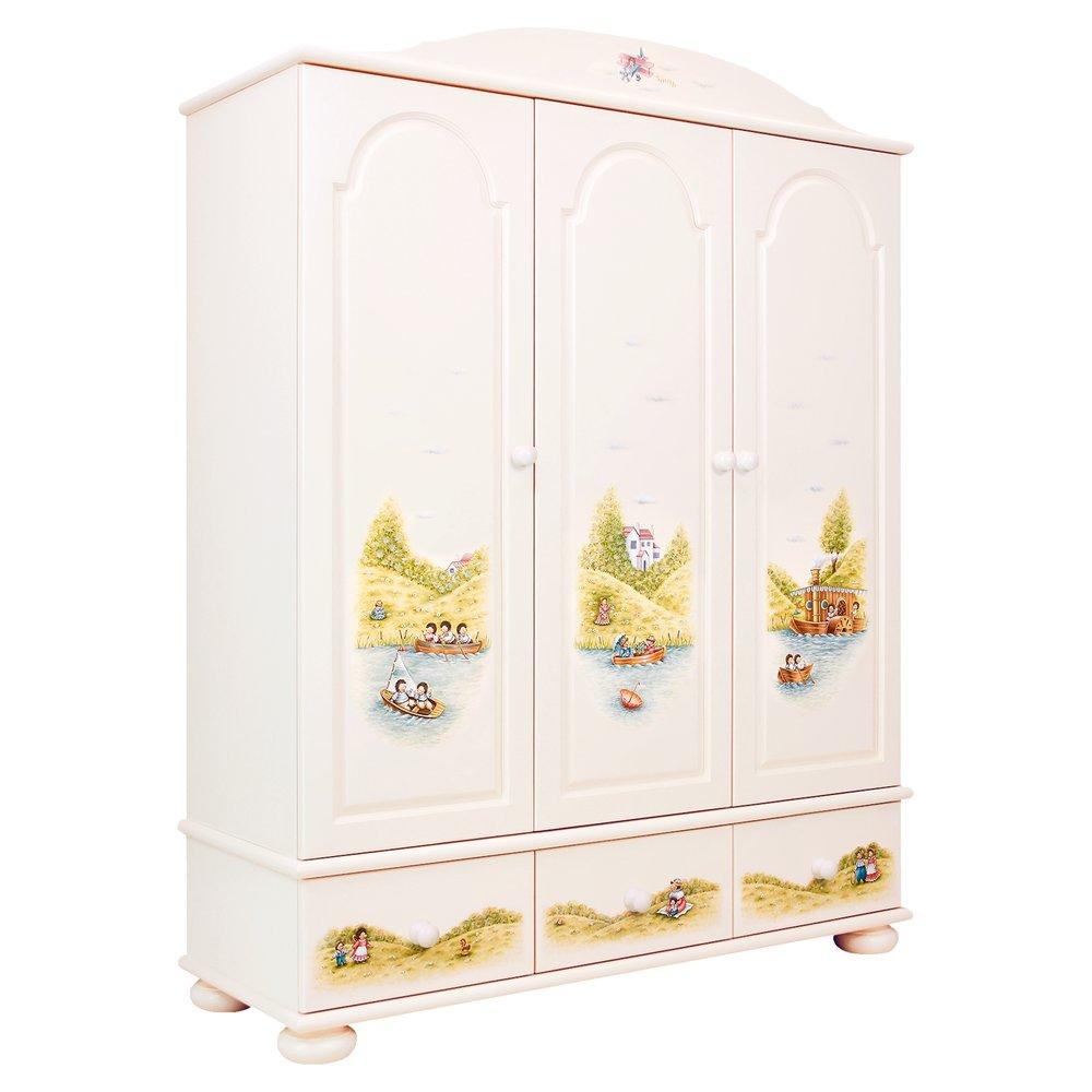 Kids Light Cream 3 Door Wardrobe | Children's Wardrobes | Tiggy-Winkle Collection | Woodright Home UK