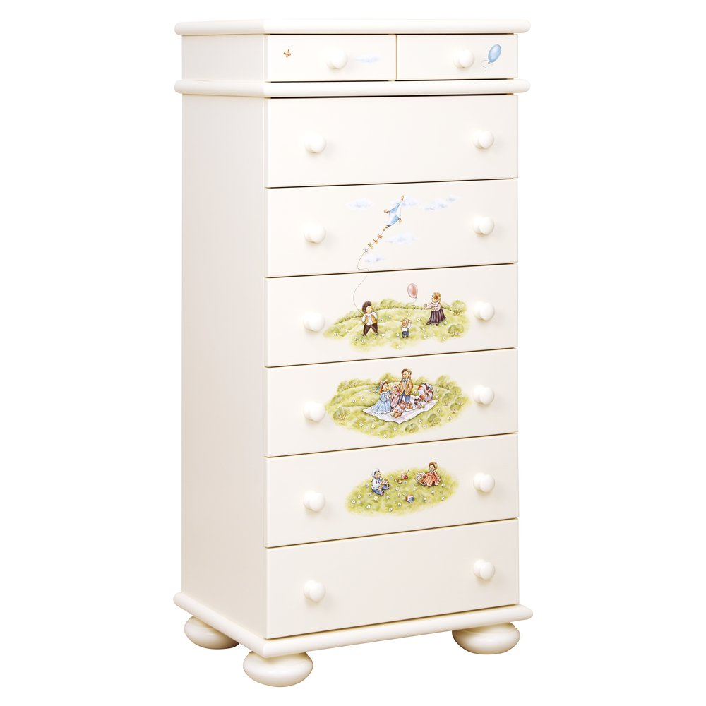 Light Cream Tall Chest of Drawers | Children's Chests of Drawers | Tiggy-Winkle Collection | Woodright Home UK