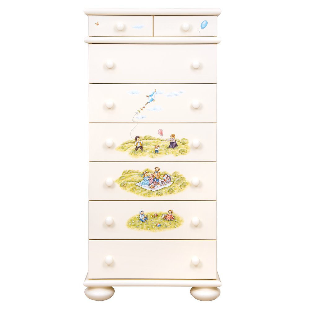 Light Cream Tall Chest of Drawers   Children's Chests of Drawers   Tiggy-Winkle Collection   Woodright Home UK
